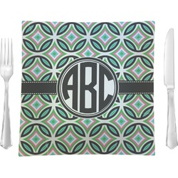 """Geometric Circles 9.5"""" Glass Square Lunch / Dinner Plate- Single or Set of 4 (Personalized)"""