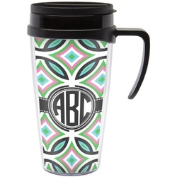 Geometric Circles Travel Mug with Handle (Personalized)