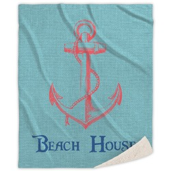 Chic Beach House Sherpa Throw Blanket