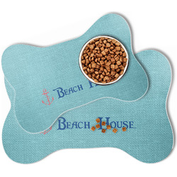 Chic Beach House Bone Shaped Dog Food Mat