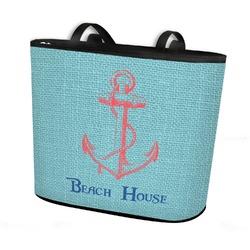 Chic Beach House Bucket Tote w/ Genuine Leather Trim