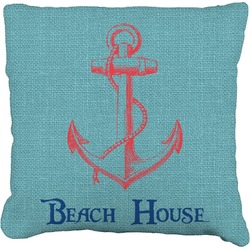 Chic Beach House Faux-Linen Throw Pillow