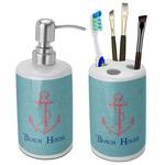 Chic Beach House Bathroom Accessories Set (Ceramic)