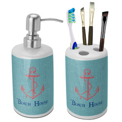 Chic Beach House Ceramic Bathroom Accessories Set