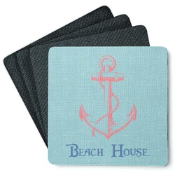 Chic Beach House 4 Square Coasters - Rubber Backed