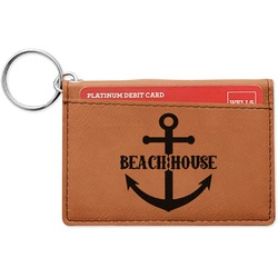 Chic Beach House Leatherette Keychain ID Holder