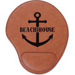 Chic Beach House Leatherette Mouse Pad with Wrist Support