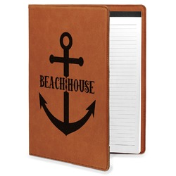 Chic Beach House Leatherette Portfolio with Notepad