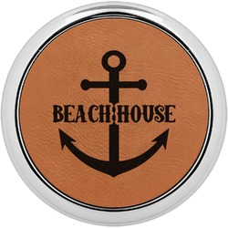 Chic Beach House Leatherette Round Coaster w/ Silver Edge - Single or Set