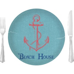 "Chic Beach House Glass Lunch / Dinner Plates 10"" - Single or Set"