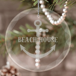 Chic Beach House Engraved Glass Ornament