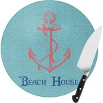 Chic Beach House Round Glass Cutting Board