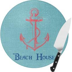 Chic Beach House Round Glass Cutting Board