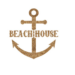 """Chic Beach House Glitter Iron On Transfer - Up to 15""""x15"""""""