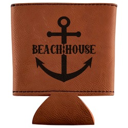 Chic Beach House Leatherette Can Sleeve