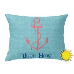 Chic Beach House Outdoor Throw Pillow (Rectangular)