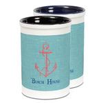 Chic Beach House Ceramic Pencil Holder - Large