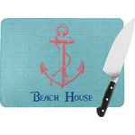 Chic Beach House Rectangular Glass Cutting Board