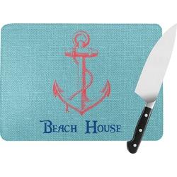 Chic Beach House Rectangular Glass Cutting Board