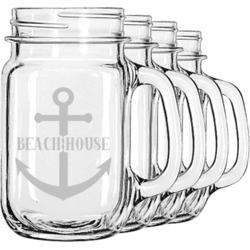 Chic Beach House Mason Jar Mugs (Set of 4)