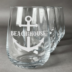 Chic Beach House Stemless Wine Glasses (Set of 4)