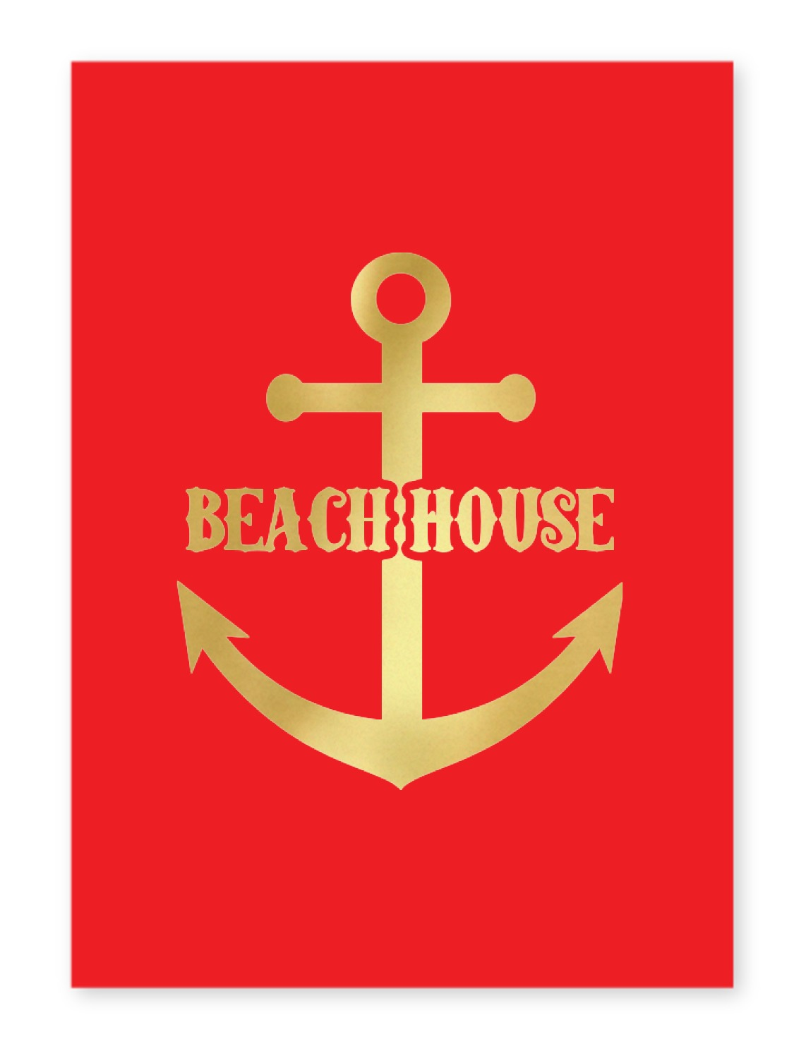 Chic beach house 5x7 red foil print youcustomizeit for Beach house prints