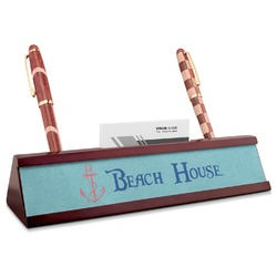 Chic Beach House Red Mahogany Nameplate with Business Card Holder