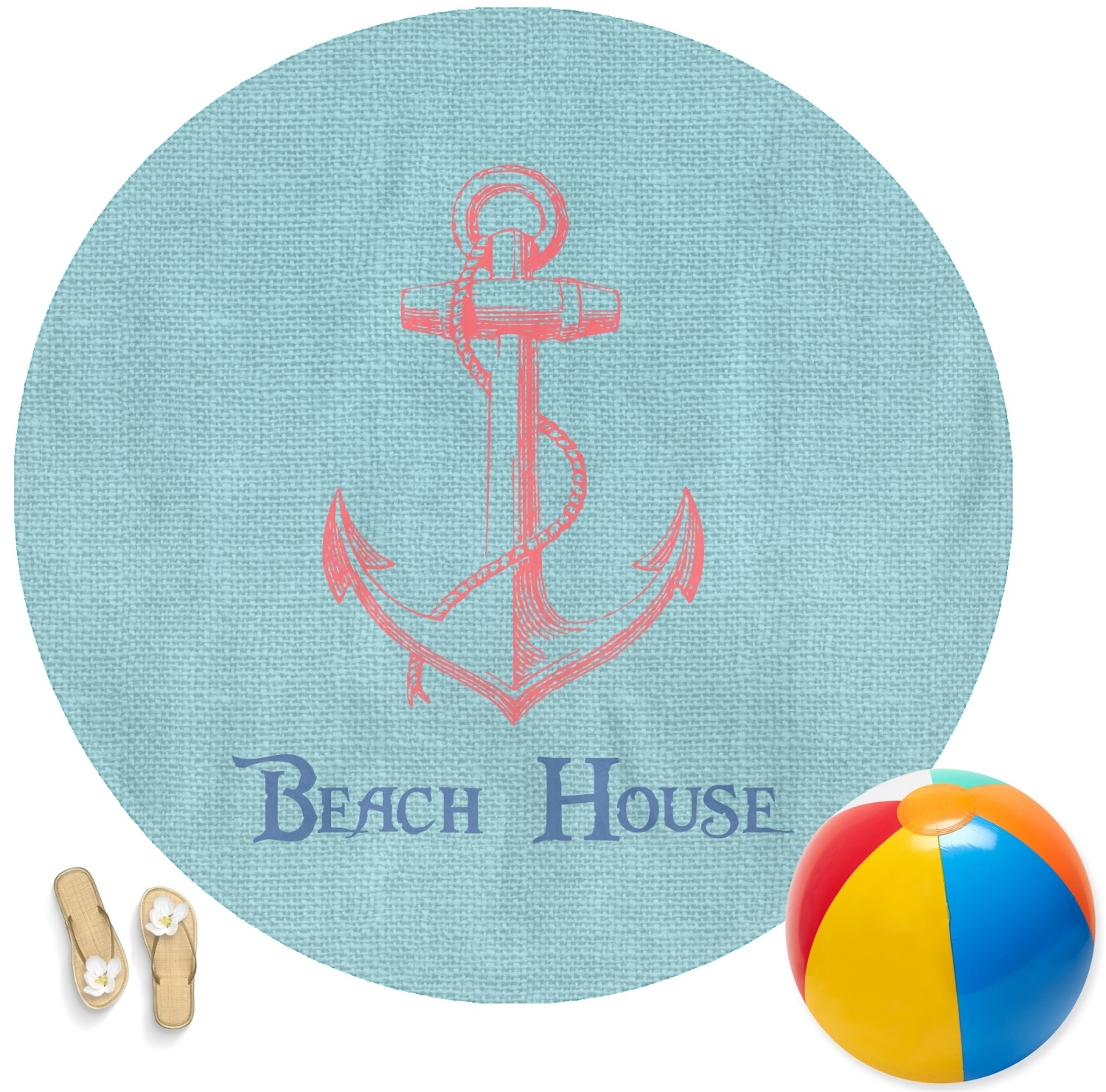 Chic Beach House Round Beach Towel Youcustomizeit
