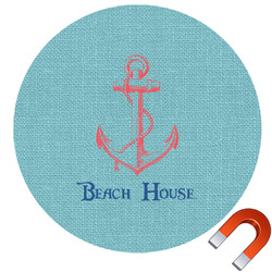 Chic Beach House Round Car Magnet