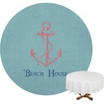 Chic Beach House Round Tablecloth