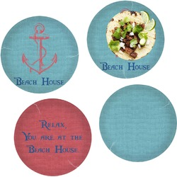 """Chic Beach House Set of 4 Glass Lunch / Dinner Plate 10"""""""