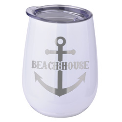 Chic Beach House Stemless Wine Tumbler - 5 Color Choices - Stainless Steel