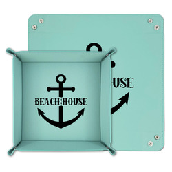 Chic Beach House Teal Faux Leather Valet Tray