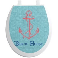 Chic Beach House Toilet Seat Decal - Round