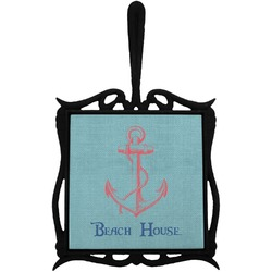 Chic Beach House Trivet with Handle
