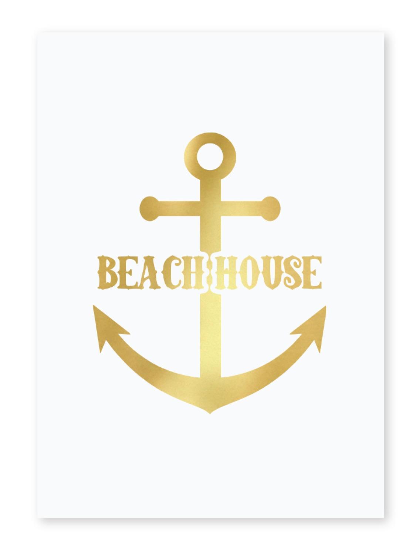 Chic beach house 5x7 white foil print youcustomizeit for Beach house prints