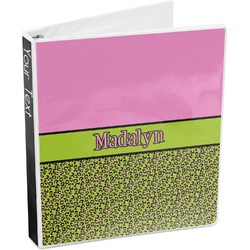 Pink & Lime Green Leopard 3-Ring Binder (Personalized)