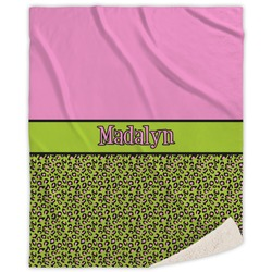 Pink & Lime Green Leopard Sherpa Throw Blanket (Personalized)