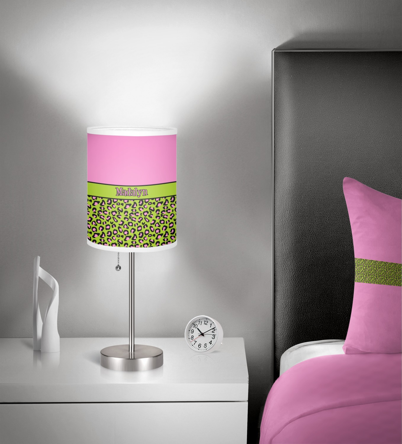 Pink lime green leopard 7 drum lamp shade personalized pink lime green leopard 7 inch drum lamp shade in aloadofball Choice Image