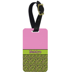 Pink & Lime Green Leopard Metal Luggage Tag w/ Name or Text