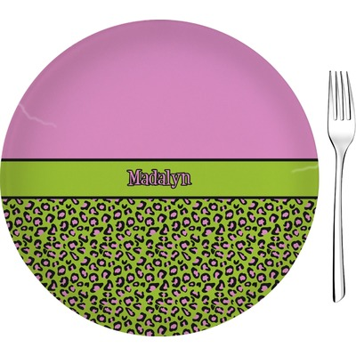"""Pink & Lime Green Leopard 8"""" Glass Appetizer / Dessert Plates - Single or Set (Personalized)"""