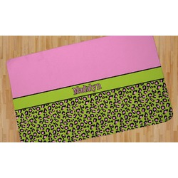 Pink & Lime Green Leopard Area Rug (Personalized)