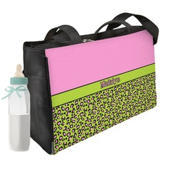 Pink & Lime Green Leopard Diaper Bag (Personalized)