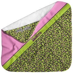 Pink & Lime Green Leopard Baby Hooded Towel (Personalized)