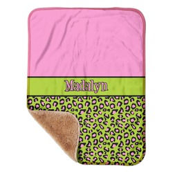 """Pink & Lime Green Leopard Sherpa Baby Blanket 30"""" x 40"""" (Personalized)"""