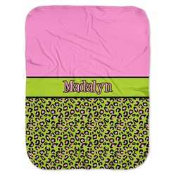 Pink & Lime Green Leopard Baby Swaddling Blanket (Personalized)
