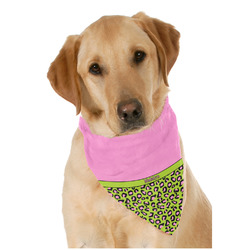 Pink & Lime Green Leopard Dog Bandana Scarf w/ Name or Text