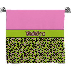 Pink & Lime Green Leopard Full Print Bath Towel (Personalized)