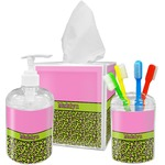 Pink & Lime Green Leopard Acrylic Bathroom Accessories Set w/ Name or Text