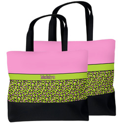 Pink & Lime Green Leopard Beach Tote Bag (Personalized)